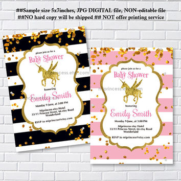 Baby Shower Invitation,  gold fantasy unicorn girl Shower Invite party Invitation, baby girl shower, baby shower- card 1207
