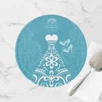 White Wedding Dress Cake Stand