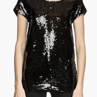 Black Sequined Short Sleeve Tunic Top