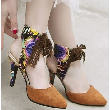 New suede low-top baotou stiletto sandals SHOES