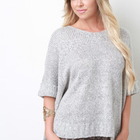 Marled Knit Side Slit Boxy Sweater Top