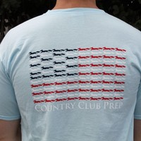 Longshanks & Stripes Tee Shirt in Light Blue by Country Club Prep