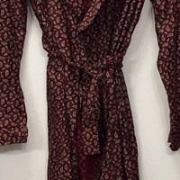 NWT Smoking Jacket Mod Red Paisley on Royal Blue Courdory with black silk lining and Black Collar, Cuffs, Belt  // circa 1940 // Size Medium