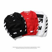 Round Neck Long Sleeve Striped Men And Women Sweater Coat