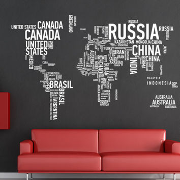 Words World map  wall decor Vinyl