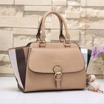 ICIKFC8 Burberry Women Shopping Leather Tote Handbag Shoulder Bag Khaki