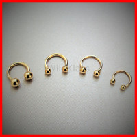 14k Gold Ring 16G 14G Solid Gold Horseshoe Circular Barbell Ring Septum Lip Earring Eyebrow Nose Nipple with Balls Cartilage Helis Tragus