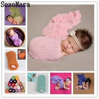 Maternity Baby Photography Props Wrap Newborn Girl Boy Blanket Cotton Soft Infant Baby Photo Accessories wool Hammock Shoot Hat