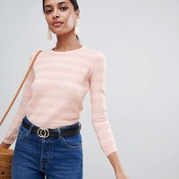 Warehouse stitch detail jumper in pale pink at asos.com