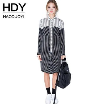 HDY Haoduoyi Loose Boyfriend Style Dress Striped Contrast Color Block Dress Single Breasted Casual Autumn Lady Shirt Dress