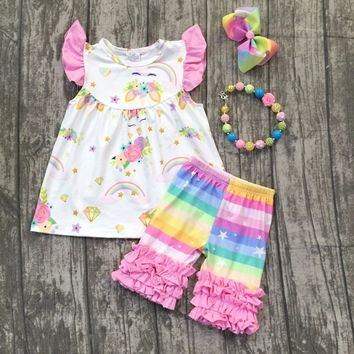 baby girls summer unicorn outfits kids rainbow shorts with pink ruffle boutiques clothes girls summer clothes with accessories