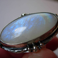 Bold Moonstone Ring, Handmade Sterling Silver and Rainbow Moonstone, lots of flash, Beautiful Sparkle