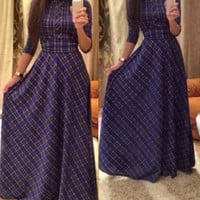 Vintage Turtleneck Long Sleeve Plaid Dress