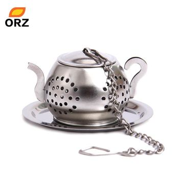 ORZ Tea Strainers Leaf Infuser Stainless Steel Teapot Shape With Tray Loose Ball Strainer Filter Herb Spice Diffuser Tea Tools