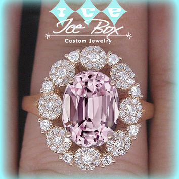 Cultured Pink Sapphire Engagement Ring 3.8ct  8 x10mm Oval set in a 14k Rose Gold Lacy Diamond Halo  Setting
