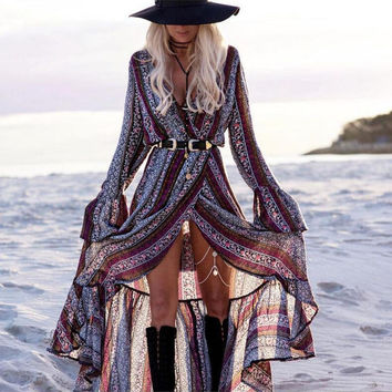 Gray and Purple Bohemian Printed Long Sleeve Front Slit Maxi Dress