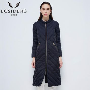 BOSIDENG 2017 New Goose Women X-long Stand Collar Down Jacket Twill Stripe Solid Color B1601072
