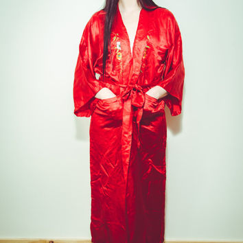 VTG  Red Silk Chinese Peacock Garden Embroidered Robe