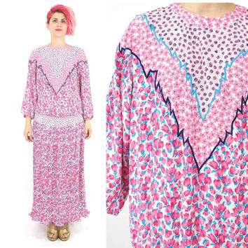 80s Diane Fres Dress Pink Floral Dress Long Sleeve Maxi Dress Elastic Waist Pleated Midi Dress Spring Drop Waist Designer Dress (L)