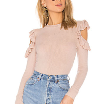 Tularosa Ruffle Cold Shoulder Sweater in Blush | REVOLVE