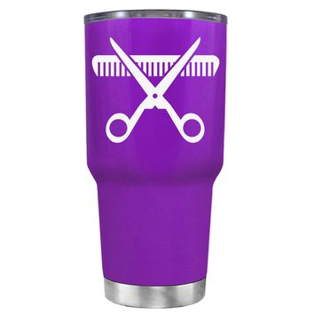 HairStylist Scissor and Comb Silhouette on Purple 30 oz Tumbler Cup