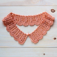 Orange Detachable Lace Peter Pan Collar - Tangerine Crochet Collar - Peach Collar Necklace - gift for her