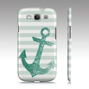 GLITTER ANCHOR  Samsung Galaxy S3 / Iphone 4/4s / Iphone 5 / Ipod touch, Phone, Case, glitter, gold, blue, mint, nautical, stripes, sparkles
