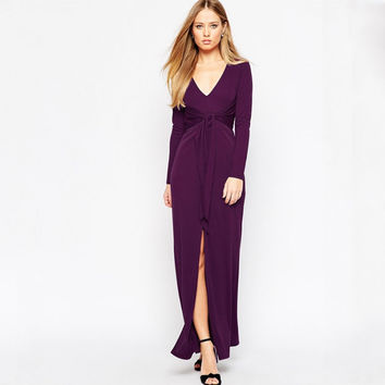 Purple V-Neck Front High Slit Maxi Dress