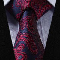 Navy Blue and Red Accent Design Paisley Tie