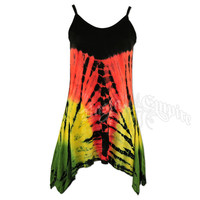 Rasta and Reggae Tie Dye Butterfly Top - Women's