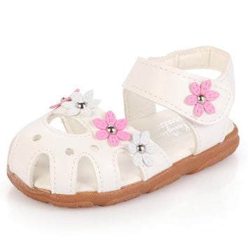 1-3 years old children sandals shoes fashion causal flat with baby sandals summer flower soft bottom child girls sandal shoes