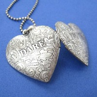 SALE - Heart Shaped Truth or Dare Floral Locket Necklace in Silver