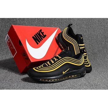 Nike Air Max 97 Popular Unisex Personality Sneakers Sport Shoes Black Gold I 2b99fc5388