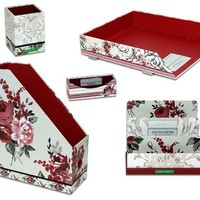 Laura Ashley 5 Piece Desk Accessory Set, Palace Garden Collection, Includes Magazine File, Letter Sorter, Stackable Letter Tray, Business Card Holder, and Pencil Holder (750-0)