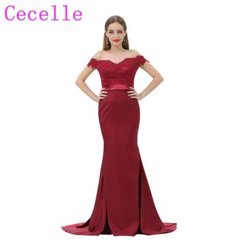 Dark Red Mermaid Long Formal Bridesmaid Dresses Off the Shoulder Beaded Lace Appliques Country Brides Maid Party Dress Custom