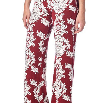 Burgundy Red Floral Patterned Palazzo Pants
