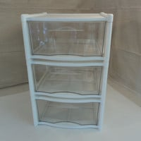 Rubbermaid Three Stackable Storage Drawers 16in L x 15in W x 24in H Clear/White -- Used