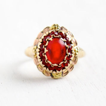 SALE- Vintage 10k Yellow & Rose Gold Simulated Ruby Cluster Ring - Late Art Deco Dated 1945 Size 7 1/2 Flower PSCO Red Glass Fine Jewelry