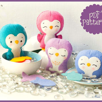 PDF. Penguin family garland. Plush Doll Pattern, Softie Pattern, Soft felt Toy Pattern.