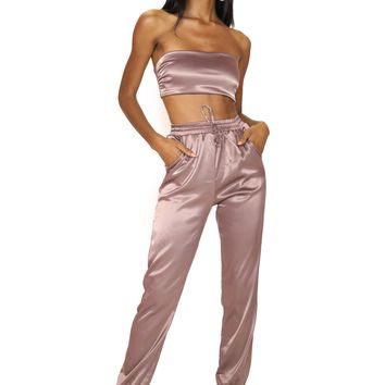 Silksation Satin Two Piece Jogger Set Dark Mauve