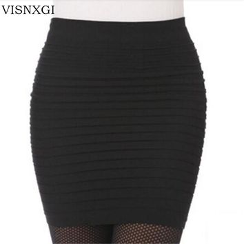The Most Cheap New Color Fashion 2017 Summer Ladies Skirt High Waist Candy Color Plus Large Elastic Pleated Skirt A-Line BK001