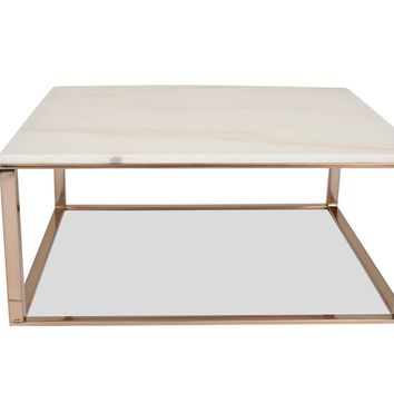 Mila White Marble / Brushed Gold Square Coffee Table
