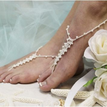 BF4 Pearl Beaded Crochet Handmade Barefoot Sandals-barefoot sandals, wedding shoes, anklets for women,barefoot sandal, footless sandles, beach wedding sandal, slave sandals, bridal barefoot sandals, wedding barefoot sandals,foot jewelry, pearl barefoot sa