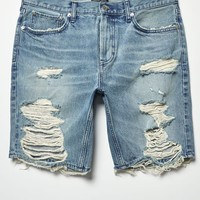 PacSun Slim Vertical Stretch Destroy Medium Denim Shorts at PacSun.com - medium indigo | PacSun