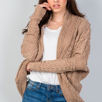Ladies fashion open front  drop shoulder cable knit cardigan