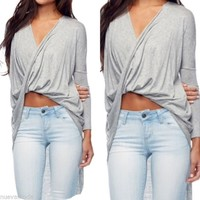 Heather Grey Draped High-Low Long Sleeve Top Sizes Small, Medium, Large