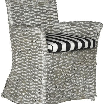 Cabana Arm Chair Grey White Wash / Black & White Stripe