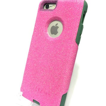Custom iPhone 6 (4.7 inch) Glitter Otterbox Commuter Cute Case,  Custom  Glitter Pink / Teal Otterbox Color Cover for iPhone 6