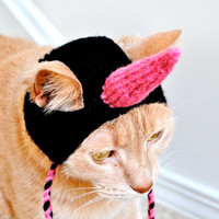 Unicorn Cat Costume - Pink and Black - Hand Knit Cat Hat - Cat Halloween Costume