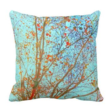 Autumn Leaves and blue Sky Throw Pillow